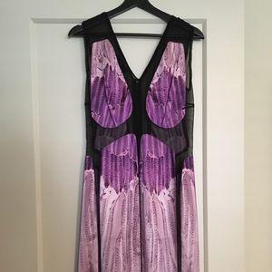 Narcisco Rodriguez silk and sheer paneled dress